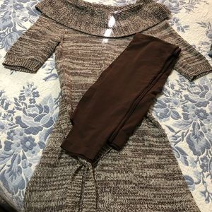 Sweater dress and tights
